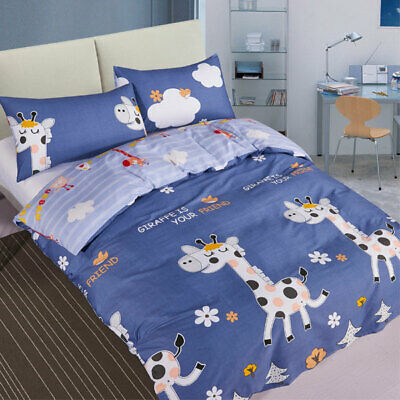 Driftwood Kids Giraffe 190 TC 100% Cotton Percale Duvet Cover Set, Blue