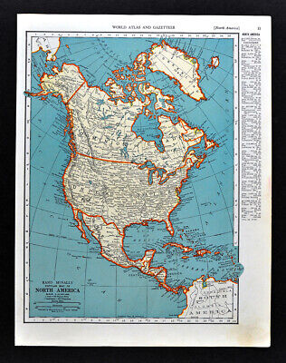 1938 MCNALLY MAP North America United States Canada Mexico ...