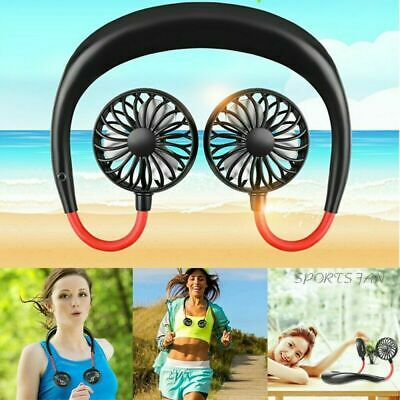 Sports Neck Hanging Fan Wireless Style Dual Blade USB Rechargeable Air Cooler*AU