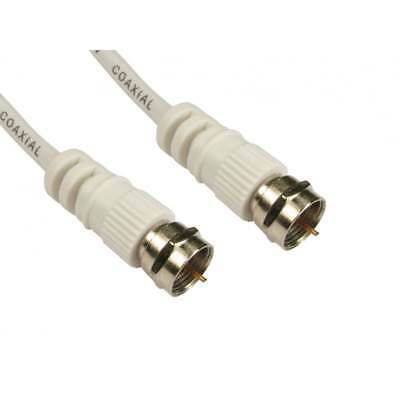 0.5m Satellite Cable F Type Screw Connector Lead For Sky Virgin WHITE