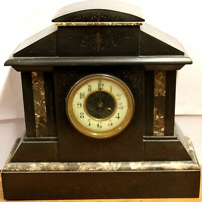 Antique Victorian 1840's Shoolbred French Black Slate Marble Mantle Mantel Clock