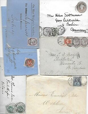 "UK GB 1880""s -90""s QUEEN VICTORIA ISSUES COLLECTION OF SIX COVERS WITH ""IR"" OFF"