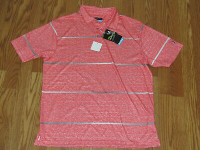 NWT Mens PGA TOUR Calypso Coral Heather Striped Pattern Dry Polo Shirt Size L