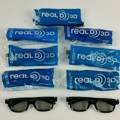 Real D 3D Glasses 8 Piece Lot Large Adult Size Used Once, Very Good+ Condition