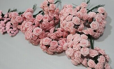 Lot of 284 Pieces Stemmed PINK Satin Ribbon Flowers Roses Wire Stem