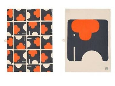 New Orla Kiely Set of 2 Elephant Tea Towels ~ Two Different Designs
