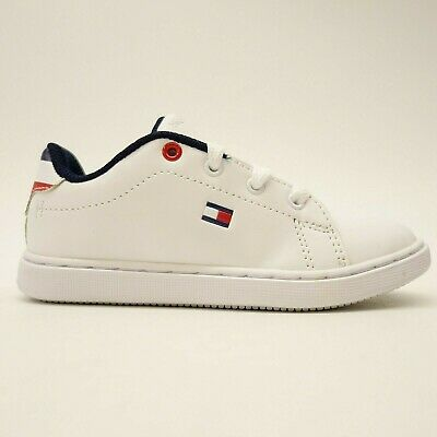9b72332f New Tommy Hilfiger US 10 EU 26.5 White Leather Kids Iconic Court Sneaker  Toddler