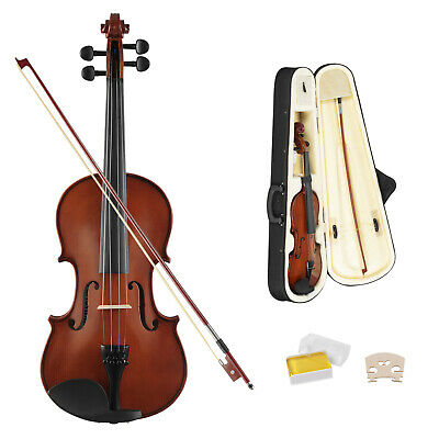 Full Size 4/4 Solid Wood Violin Natural Acoustic Fiddle with Case & Bow & Rosin