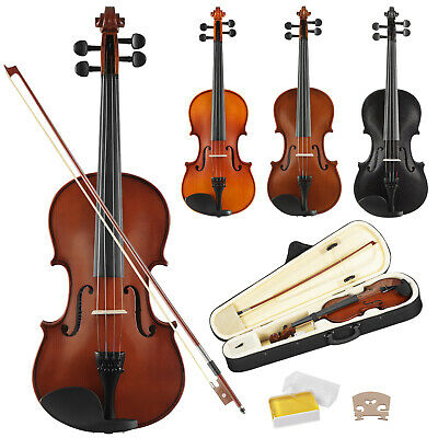 Full Size 4/4 Acoustic Violin Beginner Sets with Case,Bow,Rosin & Chin Rest