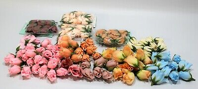 Lot of ASSORTED Artificial Silk ROSE BUD HEADS 136 Pieces NEW