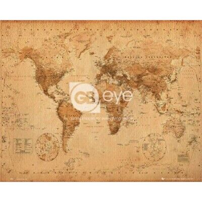 Antique Style World Map Mini Poster - 51 x 41cm Wall Decor Home Bedroom