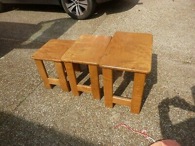Vintage Art Deco Style figured burr walnut and Oak nest of 3 tables
