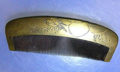 Japanese Antique Wooden Kushi Comb Geisha Hair Ornament Gold Lacquer Makie Bird