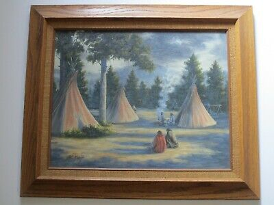 Mcgrath Painting Vintage Native American Indian Camp Landscape W Teepee Pines
