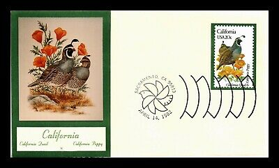 Dr Jim Stamps Us California State Bird Flower Fdc Cover Sticker Cachet
