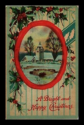 Dr Jim Stamps Us Bright Happy Christmas Winter Scene Topical Postcard