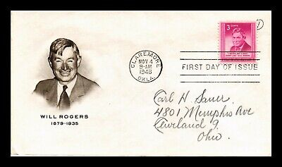 Dr Jim Stamps Us Will Rogers First Day Cover Claremore Oklahoma Scott 975