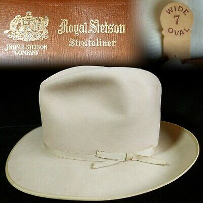 fa74a5b1 Vintage 7 Wide Oval 1950s Stetson Stratoliner Thin Ribbon Open Road Fedora  Hat