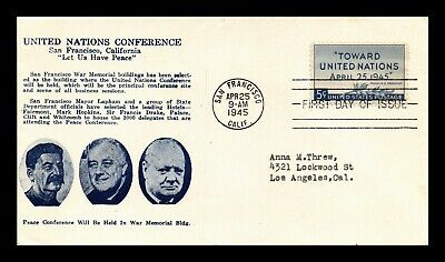 Dr Jim Stamps Us United Nations Peace Conference Fdc Cover Scott 928