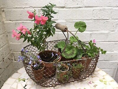 Antique Vintage French wire wired oyster basket garden planter Wooden Handle