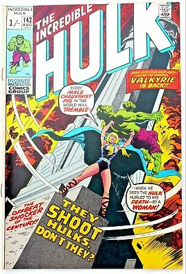 Incredible Hulk 142 a vfn+ 1971 Bronze Age Marvel Comic  2nd VALKYRIE appearance