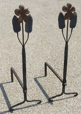 Pair Of Vtg Arts & Crafts Period Hand Hammered Flower Fire Andirons