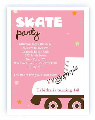 12 PERSONALIZED CUSTOM Roller Skating Skate Birthday Party Invitations