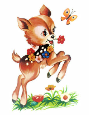 Vintage Image Nursery Retro Brown Deer Flower Butterfly Waterslide Decal AN820