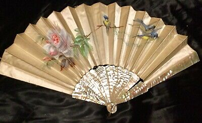 Large Victorian Satin Hand Painted Fan. A/F.