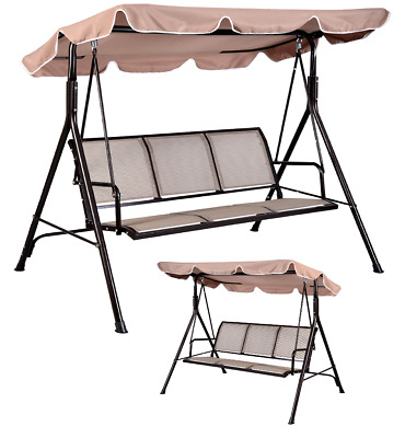 Beige 3 SEATER GARDEN PATIO SWING SEAT HAMMOCK SWINGING METAL