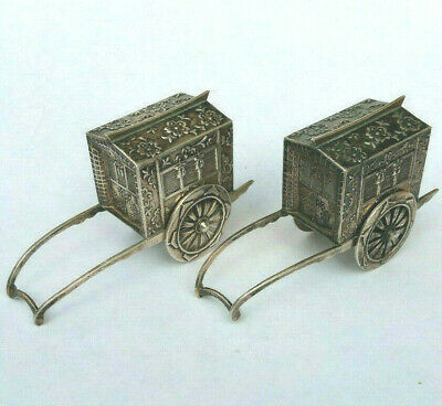 Rare Antique Japanese Sterling Silver 950 Figural WAGON Salt & Pepper Shakers