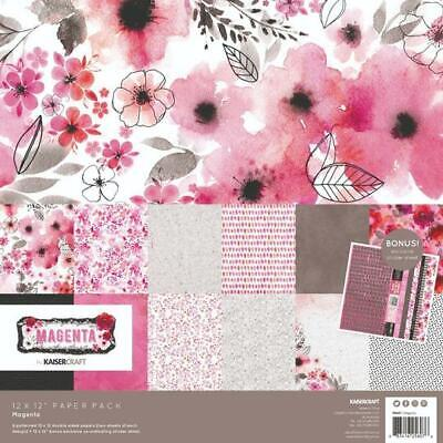 KAISERCRAFT Scrapbooking Paper Pack + Sticker Sheet Magenta Pink Flower Black