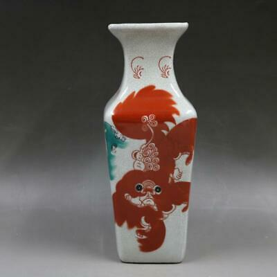 Chinese ancient antique hand make Lion pattern  Quadrangular vase a99