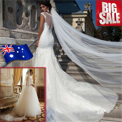 3M Women White Cathedral Bride Bridal Veils Long Wedding Veil With Comb AU Stock