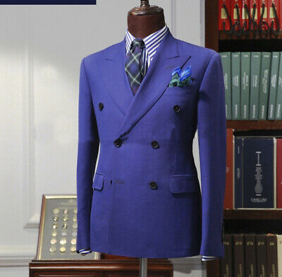 Purple Double-breasted Men's Suits Wide Peak Lapel Groom Formal Wedding Tuxedos