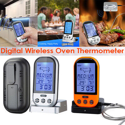 Wireless Remote Digital LCD Cooking Food Probe Meat Thermometer For BBQ Grill