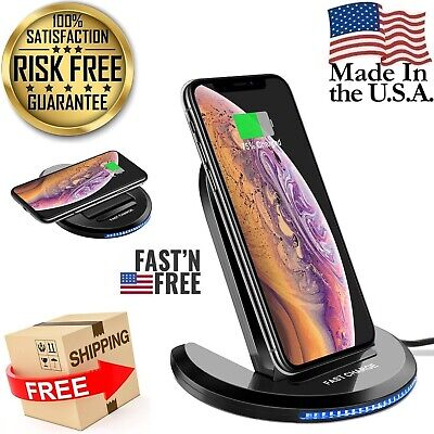 Qi Wireless Fast Charger Charging Stand Dock Pad Adjustable For Samsung iPhone