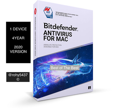 Bitdefender Antivirus for MAC OS 2020 - 4 YEARS Activation 1 Device - Download.