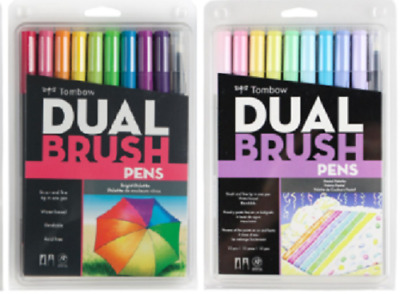 Tombow Dual Tip Brush Pen Art Markers Brights & Pastel Palette 10-Packs Combo