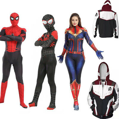 Spider-Man Far From Home Adult Kids Peter Parker Zentai Cosplay Costume Suits YO