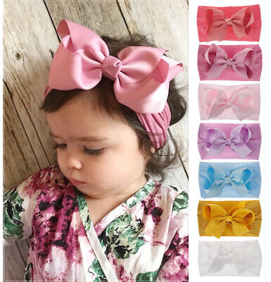 Cute Girls Kids Baby Nylon Bow Knot Hairband Headband Rosette Sweet Turban Knot