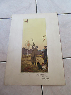 Grande Gravure Eau Forte 1930 Chasse Chasseurs Signee