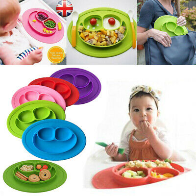 UK Baby Cute Bowl Silicone Mat Kids Child Suction Table Food Tray Placemat Plate