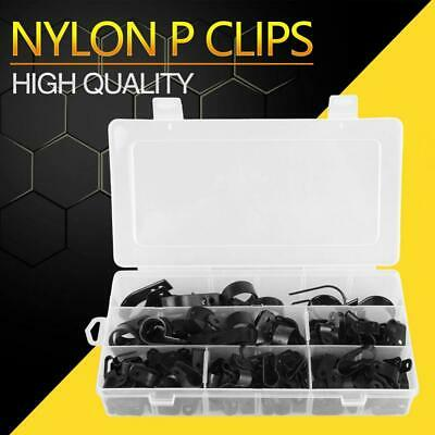 200Pc Black Nylon Plastic P Clips Clamp Assortment Kit for Wire Cable Pipe Box