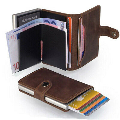 Unisex Leather ID Credit Card Holder RFID Protector Money Wallet Clip Card Case*