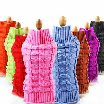 Pet Dog Knitted Jumper Cat Winter Sweater Warm Coat Jacket Puppy Clothes AU
