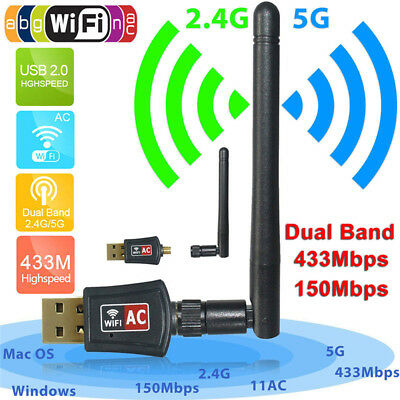 150Mbps Dual Band 2.4/5Ghz Wireless USB WiFi Network Adapter Antenna 802.11AME
