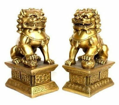 Chinese brass statue foo dogs/Lions pair