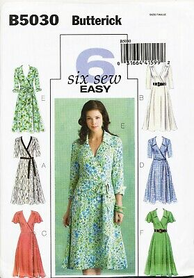Butterick Sewing Pattern 5030 Misses 8-14 Flared Below Mid Knee Wrap Dresses