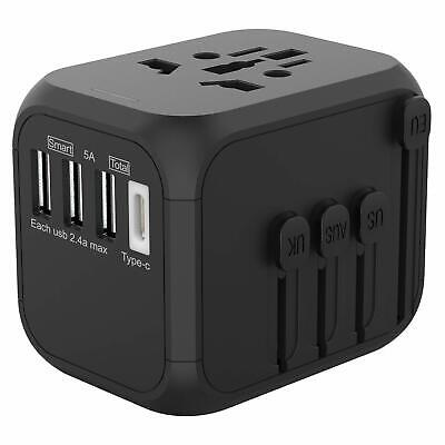 JOLLYFIT Universal Travel Adapter 5A Smart Charger (Black Type-C and 3 USB Port)